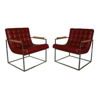 Mid-Century Modern Milo Baughman for Thayer Coggin Red Leather Club Chairs - a Pair For Sale