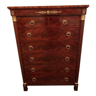 Kindel Neoclassical Regency 8 Drawer Mahogany Chest For Sale