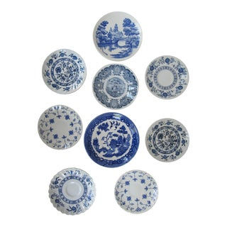 Blue & White Transfer-Ware Plates- 9 Pieces