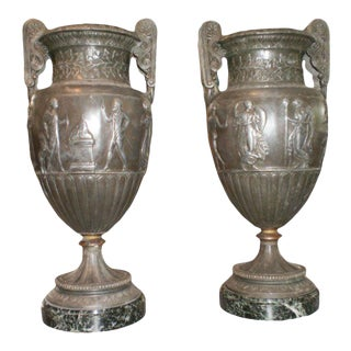 1920's Antique French Neoclassical Style Urns-A Pair For Sale