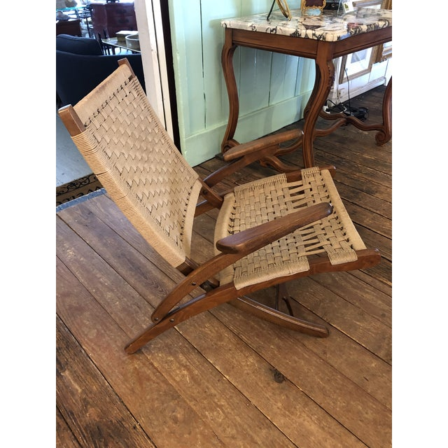 Organic Mid Century Modern Woven Rope and Teak Folding Armchair For Sale - Image 4 of 12