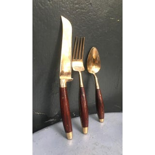 1950s Mid Century Bronzed Nickel & Wood Flatware Set in Box - Set of 18 Preview