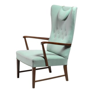 Danish High Back Lounge Chair with Mint Green Wool Upholstery, 1940s For Sale