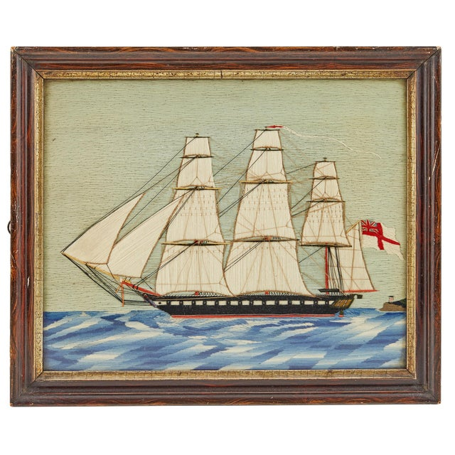 Folk Art Pair of British Sailor's Woolworks Depicting a Royal Navy Ship Leaving and Arriving at the Same Port, Circa 1865-75 For Sale - Image 3 of 4