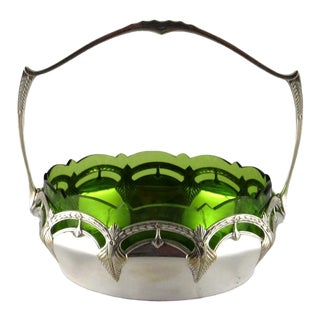 Rare Art Nouveau Wmf Silver Plated Basket With Chartreuse Glass Liner, Made 1900-1910 For Sale