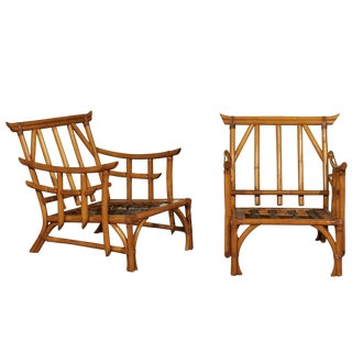 Magnificent Pair of Restored Vintage Rattan Pagoda Lounge Chairs, Circa 1960 For Sale