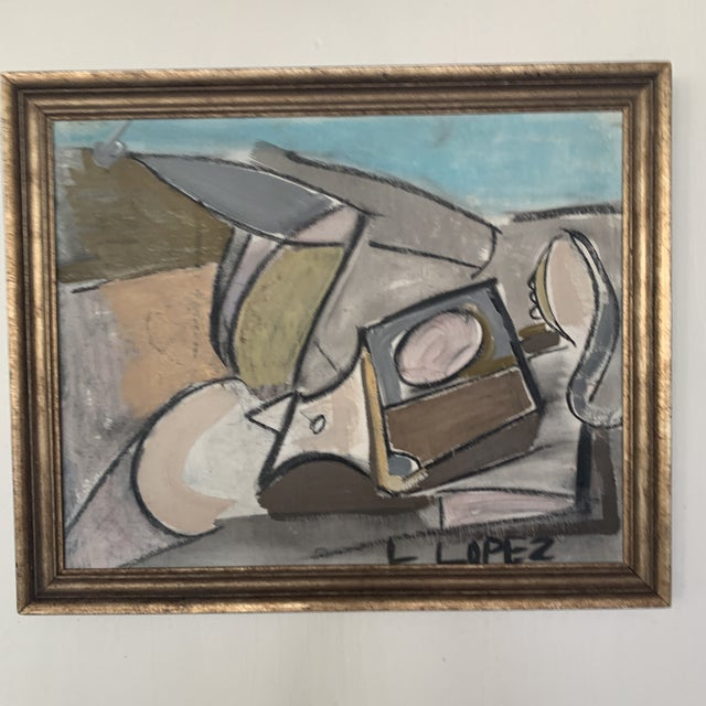 1980s Framed Charcoal Abstract Drawing For Sale - Image 9 of 13