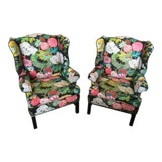 "Custom Schumacher ""Chiang Mai Dragon"" Upholstered Wingback Chairs - A Pair"