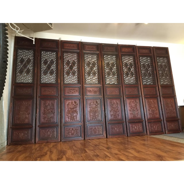 Magnificent set of four antique wood panel doors (pictures show eight, four have been sold) from China, likely part of an...