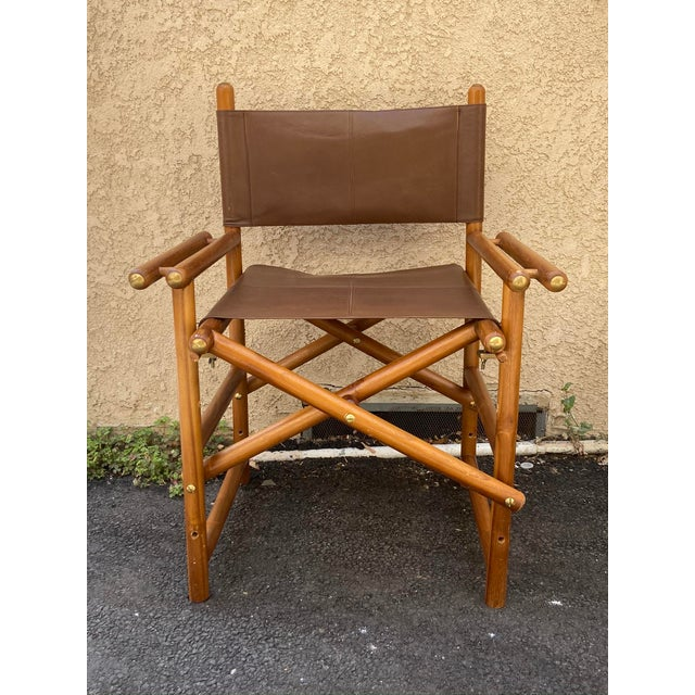 Vintage Set of 4 Leather Safari Chairs For Sale - Image 11 of 13