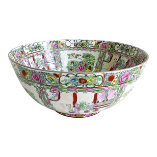 Large Scale Vintage Rose Medallion Decoartive Bowl For Sale
