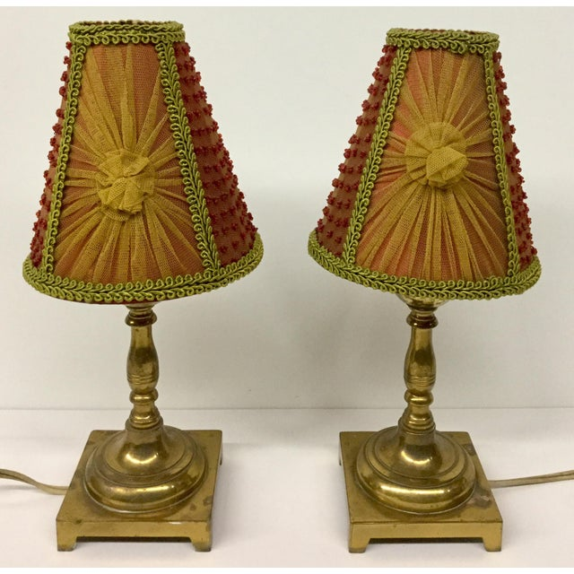 1940s Small Vintage Brass Table Lamps With Shades - a Pair For Sale - Image 4 of 13