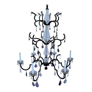 Crystal Chandelier, Iron Frame With Semi-Black Painted Finish & Clear and Amethyst Crystals For Sale