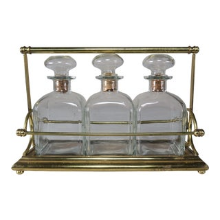 English Decanters on Brass Base - Set of 3