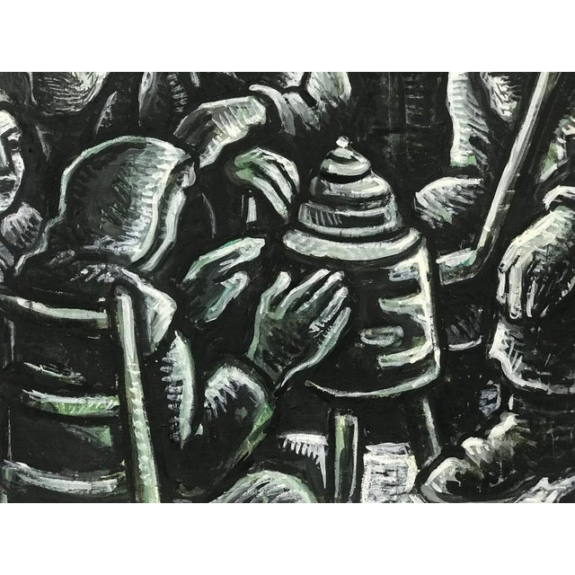Black 1990s Arie Eckstein Contemporary Oil Painting For Sale - Image 8 of 10