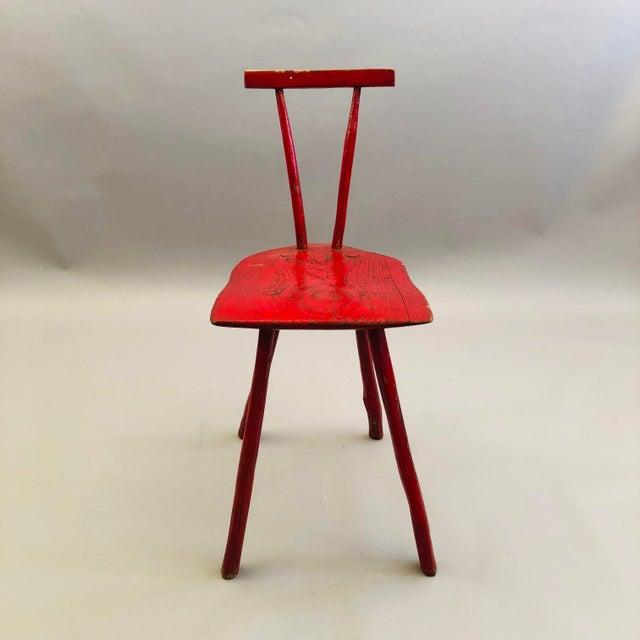 Folk Art Hand Hewn Oak Side Chair For Sale - Image 3 of 8