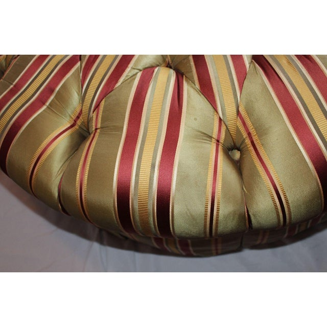 Henredon Round Tufted Striped Silk Ottoman For Sale - Image 5 of 8