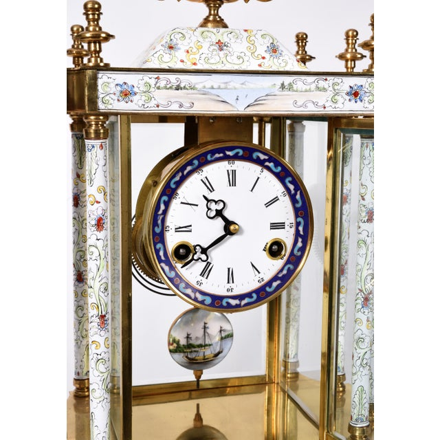 Mid-20th Century Brass Frame Mantel Clock For Sale In New York - Image 6 of 12