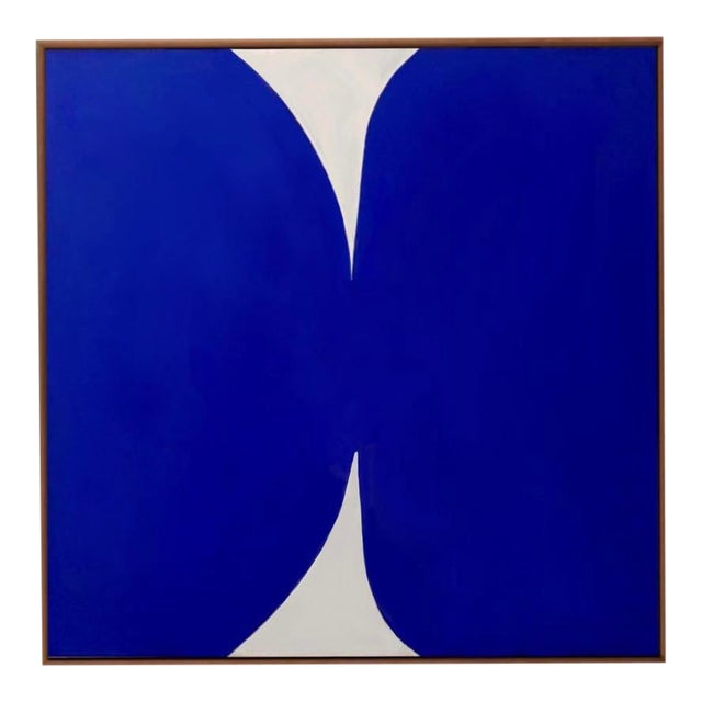 """""""Klein Blue and White"""" Contemporary Abstract Acrylic Painting, Framed For Sale"""
