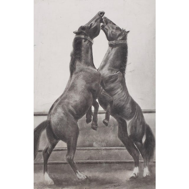 """""""The Challenger"""" Original Charcoal on Paper Mid 20th Century Though undated, we believe this to be circa 1970s. The..."""