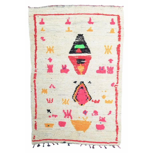 Textile Vintage Abstract Moroccan Azilal Rug - 4′5″ × 7′1″ For Sale - Image 7 of 7
