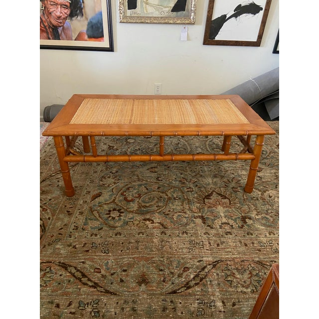 Boho Chic 1970s Faux Bamboo and Ratan Coffee Table For Sale - Image 3 of 8