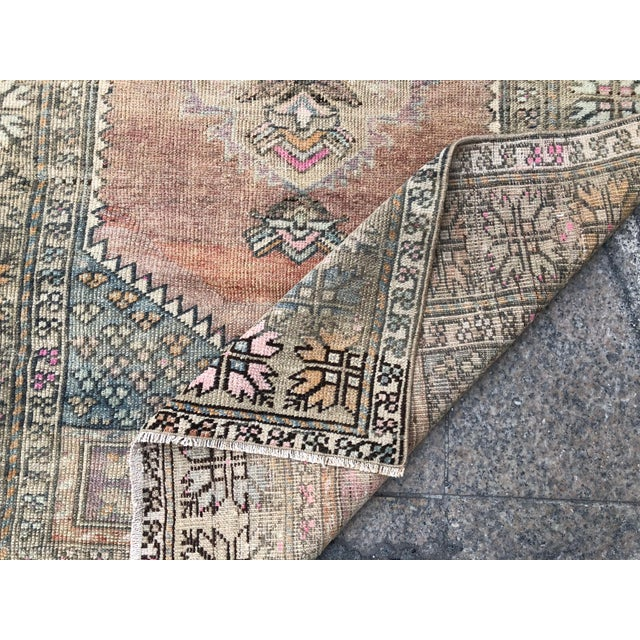 1960s Turkish Bohemian Antique Faded Floor Rug - 3′1″ × 5′1″ For Sale - Image 4 of 11