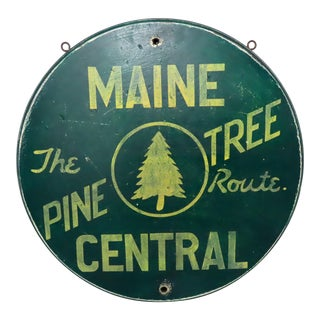 Hand Crafted Wood Replica Maine Central Railroad Sign For Sale