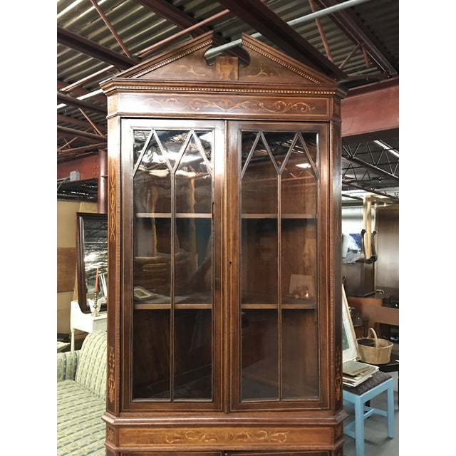 20th Century American Classical Inlaid Corner Cupboard For Sale - Image 4 of 6