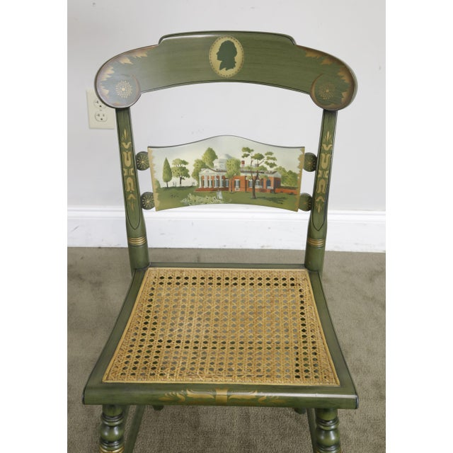 """Hitchcock Hitchcock Green Painted """"Thomas Jefferson's Monticello"""" Cane Seat Side Chair (B) For Sale - Image 4 of 13"""