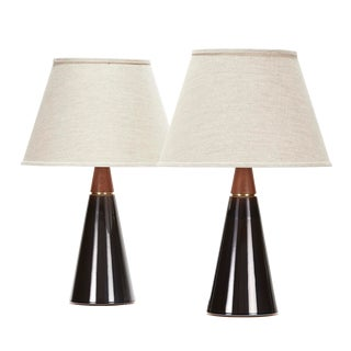 Wyatt Lamp in Storm Glaze With Walnut Neck - a Pair For Sale