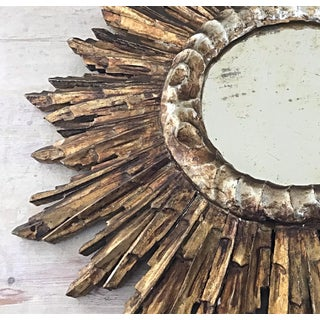 1950s Vintage Mid-Century French Giltwood Sunburst Wall Mirror Preview