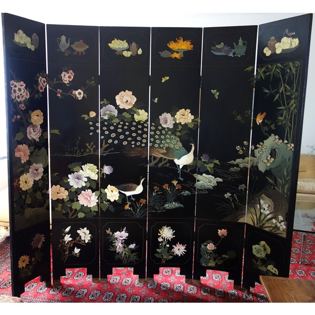 Vintage Chinese 6 - Panel Peacock Screen For Sale - Image 10 of 10