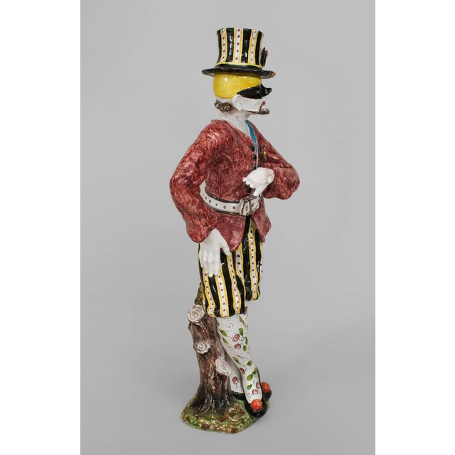 Ceramic 19th Century Italian Majolica Harlequins - Set of 2 For Sale - Image 7 of 11