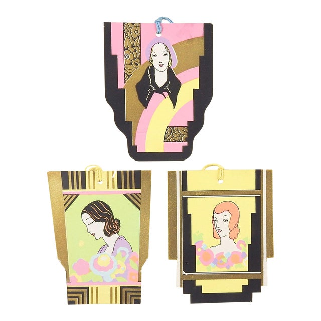 Art Deco Portrait Tally Cards - Set of 3 For Sale