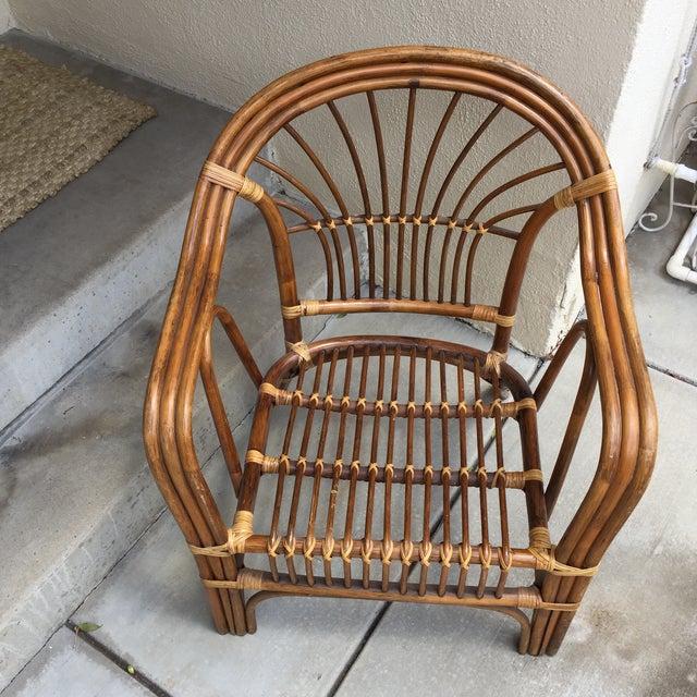 Vintage Boho Rattan & Bamboo Armchair - Image 3 of 8