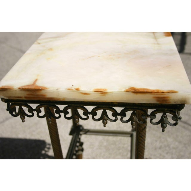 Traditional Antique Onyx & Iron Side Table For Sale - Image 3 of 5