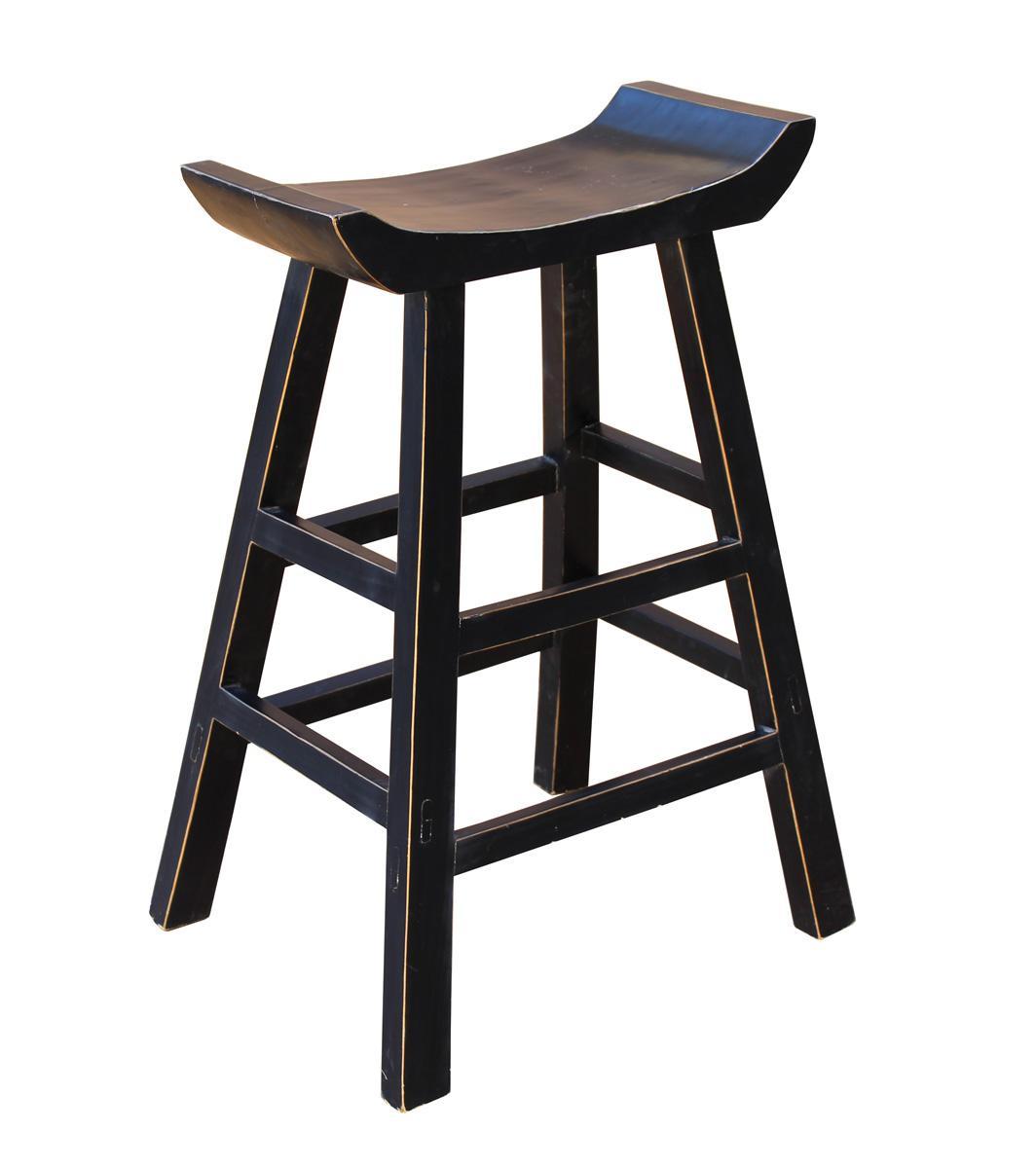 Black Solid Wood U Shaped Bar Stool Chairish