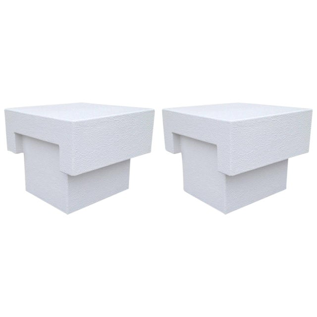 Architectonic Textured Plaster Side Tables, Pair - Image 1 of 7