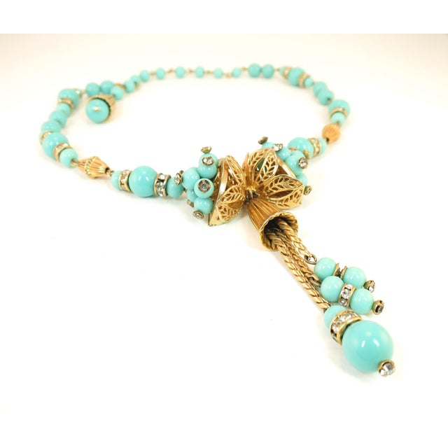 1950s Miriam Haskell Turquoise Glass Necklace & Bracelet Set, Made in Germany 1950s For Sale - Image 5 of 13