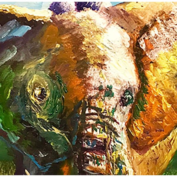 Green Original Oil Painting of Elephant, Framed For Sale - Image 8 of 11