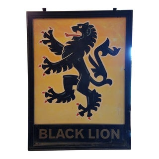 "Double-Sided, Hand Painted Metal UK Pub Sign - ""Black Lion"" For Sale"