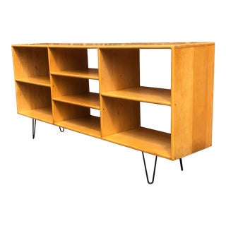 Mid Century Solid Maple Bookcase on Hairpin Legs For Sale