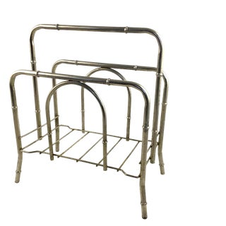 1950s Vintage Hollywood Regency Nickel Finish Faux Bamboo Magazine Rack For Sale