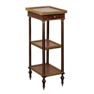 English 1870 Petite Brass and Parquetry Three-Shelf Étagère with Single Drawer