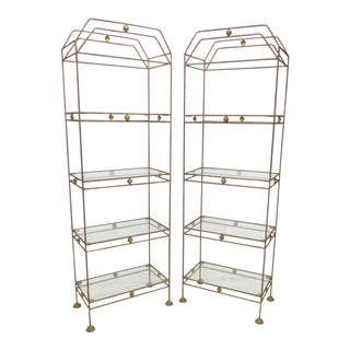 Mid-Century Hollywood Regency Metal Gold Etageres - A Pair For Sale