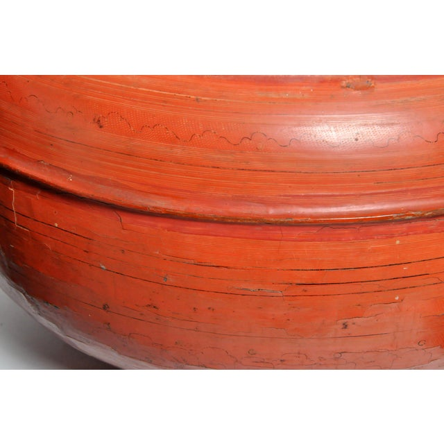 Burmese Red Lacquer Offering Urn For Sale - Image 11 of 13