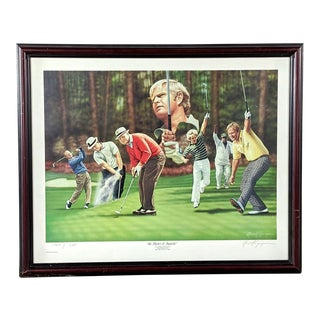"""1980s """"The Master of Augusta"""" Golf Figurative Reproduction Print After Alan Zuniga, Framed For Sale"""