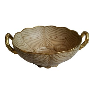 Gilt Faux Bois Porcelain Bowl For Sale