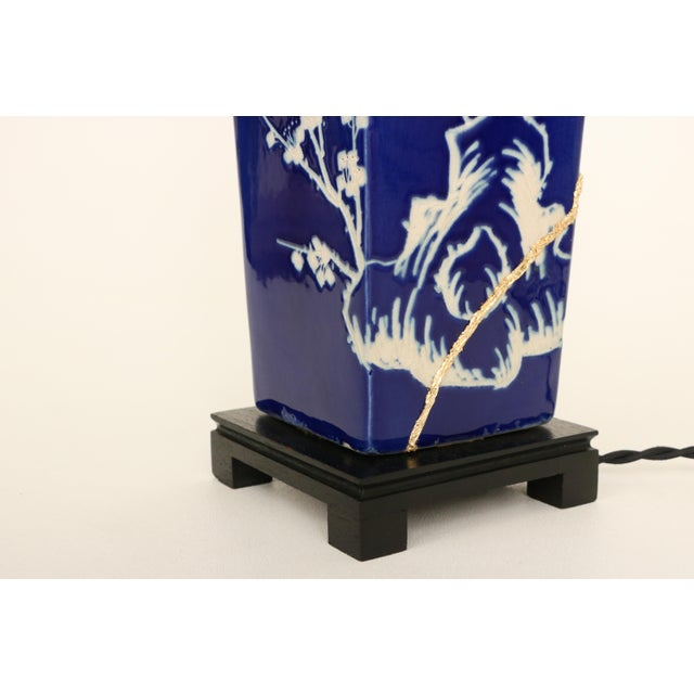 Kintsugi-Style Gold Mended Cobalt Table Lamp - Image 8 of 9